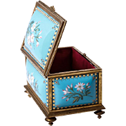 SALE Fine Antique French 19th C. Kiln-fired Enamel Jewelry Casket, TAHAN, Sevres