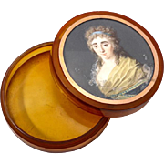 SOLD Superb Antique French Portrait Miniature, A Beauty, On Snuff Box, c.1770s