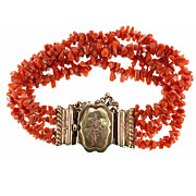 SALE Antique Victorian Era Red Coral Bracelet, 4 Strands & Clasp w French Silver Marks, 18k Ve