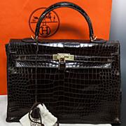 SOLD Fabulous Vintage HERMES 35 cm Kelly Bag, Sac, Purse, Croc  Excellent w/Lock, 2 Keys & Dus