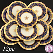 "SALE Rare 12pc Antique 1892 Minton 9 3/4"" Dinner Plate Set, Raised 18k Gold ..."