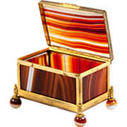 SALE Superb Antique Banded Agate & Ormolu Jewelry or Trinket, Ring Box.