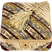 SALE Fine Silk Covered Antique French Confectioner's Chocolate Box, Casket, Rebattet, St. ...