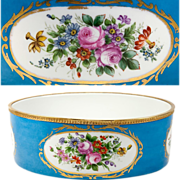 SALE Fine Antique Late 1800s French Jardiniere, Porcelain in Sevres Blue with Flowers, HP