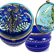"SALE RARE Antique MOSER 5"" Bonbon or Powder Jar with Glass Salamander"