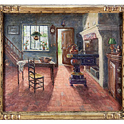"SALE ""A. Stockman"" Antique Oil Painting, Impressionist Interior of a Dutch Kitchen,"