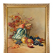 "SALE Antique French Oil Painting, Still Life, Signed, c.1917, Frame 24"" x 21"""