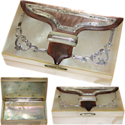 """SOLD Superb Antique 1700-1800s French Mother of Pearl & Sterling Silver """"Boîte a Mouche"""""""