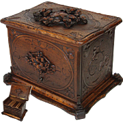 """SALE Antique Hand Carved Black Forest 13"""" Cigar Chest, Box, Server - 5 Trays for 60 ..."""