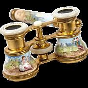 SALE Superb 19th c. French Kiln-fired Enamel Opera Glasses, Binoculars, Lorgnette handle, ...