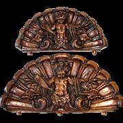SALE RARE Antique Victorian Era Carved Oak Cornice or 'Fonton' PAIR, Majestic Grotesque Figure