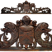 "SOLD Antique Hand Carved Armorial Cornice or ""Fronton"", Top of a Frame, Mirror, Cabi"