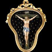 "SALE RARE LG Antique French Limoges Enamel Painting in 10.5"" Gilt Bronze Frame, Christ .."
