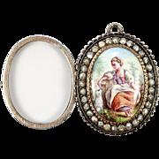 SALE Antique French Locket, Kiln-fired Enamel Portrait Miniature, Seed Pearl Pendant in Silver