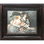 SALE Antique Miniature Painting in Original Frame, Bare Breast Demeter, Goddess of Harvest, w