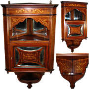 "SALE Magnificent Antique Victorian Era 36"" Wall Hung Corner Cabinet, Rosewood with Marque"