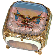 SALE Antique French Made Souvenir Box, Eglomise Jewelry Casket for America: Eagle & American .