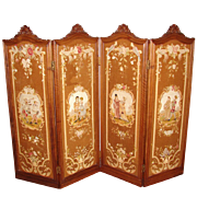 """SALE RARE Antique French Carved Walnut 73"""" 4-Panel Folding Privacy or Dressing Screen, Fi"""