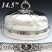 SALE Large Antique English Silver Plate Meat Dome, Bell: Ornate Seashell Accented Band & Finia