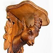 SALE Antique Black Forest Carved Chamois Bracket Shelf