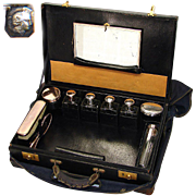 """SALE Antique French 18"""" Travel Case, Sterling Silver & Original Tools"""