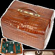 """SALE Superb Large Antique Victorian Era 15"""" Alligator or Croc Travel Case, Marked """"D"""