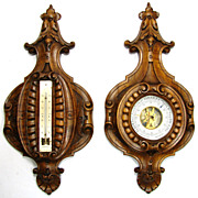 "SOLD Wonderful Antique French Black Forest Carved 16.5"" Wall Barometer & Thermometer PAIR"