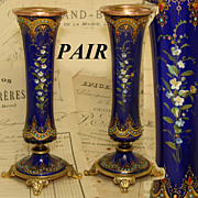 "SOLD Gorgeous Antique French Sevres Enamel & Ormolu 6"" Posy Vase PAIR, HP Flowers & 'Jewe"