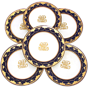 "SALE Set of Six Antique Minton 10"" Dinner Plates, Cobalt & Thick Raised Gold Enamel"