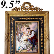 "SOLD Superb Antique French 9.5"" Tall Empire Frame with Fine Signed Limoges Kiln-fired Ena"