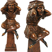 SALE Antique Hand Carved Figural Support from 19th c. Furniture or Bar, Architectural Salvage