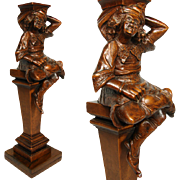 SALE Antique Hand Carved Figural Support, Architectural Salvage from 19th C. Furniture or Bar