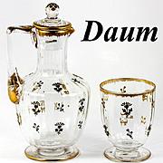 SALE Fine 19th Century French Carafon and Tumblar, Daum Crystal, Raised Gold Enamel Decanter a