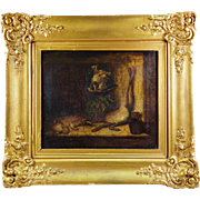 SALE Antique Still Life Oil Painting in French Frame, Fruits of the Hunt Theme, Hare ...