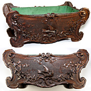 SOLD Antique Hand Carved Black Forest Jardiniere with Tin Liner Intact, Birds - Fabulous Cente