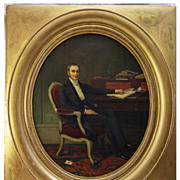 SOLD Superb Antique French Oil Painting, Portrait and Interior of Gentleman at his Desk, Lette