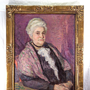SALE Antique Oil Painting, Impressionist Portrait of a Charming Matron, Elegant French Art Nou