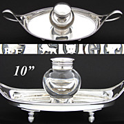 "SOLD Antique English Sterling Silver 10"" Desk Top Inkwell, Ink Stand, Thick Glass Well"