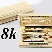 SOLD Superb Antique French c. 1818 18k Solid Gold Sewing or Embroidery Tools Set, Scissors, Th