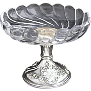 SALE Elegant Antique French Sterling Silver & Cut Glass Raised Serving Dish or Compote, 6""