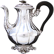 SALE Antique Louis Philippe Era French Sterling Silver Solitaire Sized Coffee or Tea Pot