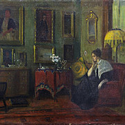 SALE IMPORTANT: Oil Painting, 1900-07 Interior by American Impressionist, Frederick VEZIN, (18