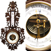 "SALE Antique Victorian Era Black Forest Style Carved 21"" Wall Barometer & Thermometer"