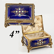 SALE Antique French Kiln-Fired Enamel Jewelry Box, Casket, Cobalt Blue with Jewel Dots, Sevres