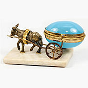 """SALE Antique French Opaline """"Egg"""" Trinket, Thimble or Open Salt, Donkey Cart, Carria"""