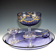 SALE Antique French Crystal Dessert or Fruit Service, Tray, Bowl and Dishes on Stem, Ladle, Ra