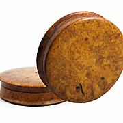"""SALE Large 4.25"""" Diam Antique French Burl Wood Snuff Box, Set with Ruby or Garnet Gem"""