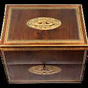 SALE Antique English Georgian Era Marquetry Tantalus Box, Chest, Lock & Key, Tunbridge?