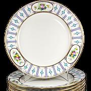 "SALE Set of 12 Antique Minton Dinner Plates, 10.25"", Raised Enamel & HP, Gold Rim ..."