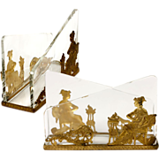 SOLD Antique French Empire Stationery Stand, Baccarat Crystal & Dore Bronze Neo-Classical Figu
